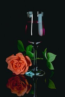Rose, Glass, Wine, Novel, Romantic, Red, Drink