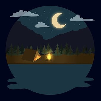 Camping, Night, Campfire, Moon