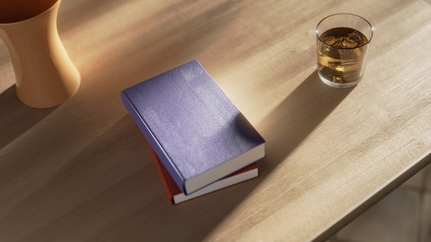 Book, Blue, Table, Whiskey, Twilight