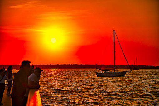 Boat, Sunset, Marina, Travel, Florida, Dunedin, Water