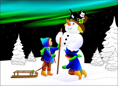Snowman, Children, Slide, Cat, Winter, Aurora, Trees
