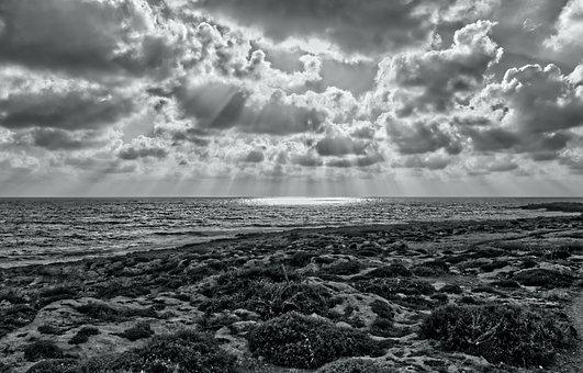 Seascape, Landscape, Coast, Waves, Light, Rays, Clouds