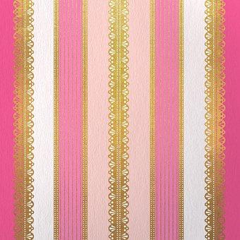 Stripes, Pattern, Pink, Lace, Golden, Luxury