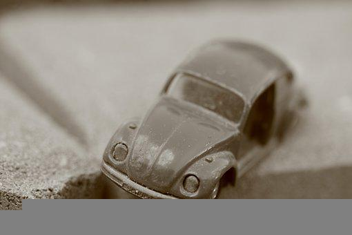 Auto, Model, Old, Beetle, Volkswagen, Damaged