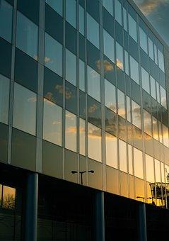 Sunset, Reflection, Blue, Orange, Clouds, Building
