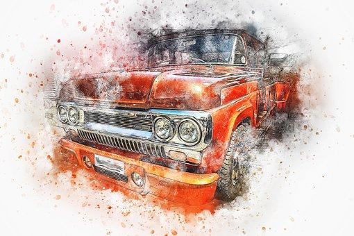 Car, Old Car, Art, Abstract, Watercolor, Vintage, Auto
