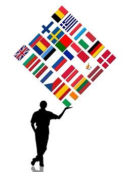 Man, Silhouette, Bear, Europe, Flag, Star, Blue