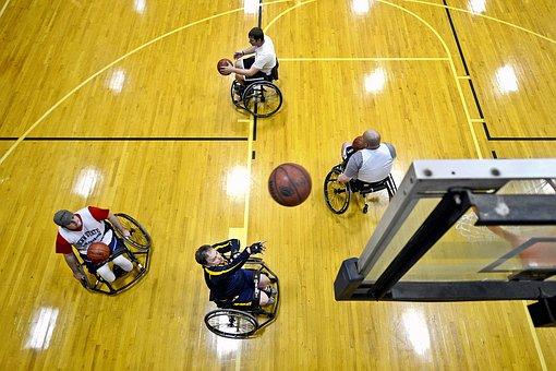 Basketball, Court, Shooting, Ball, Players, Disabled
