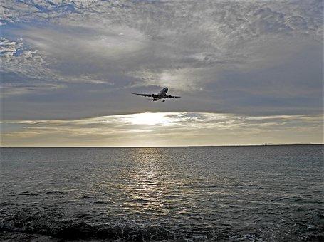 Sunset, Plane, Heaven, Clouds, View, Air, Bonaire