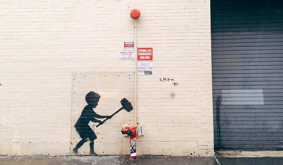 Street Art, Urban, Banksy, Wall, Boy