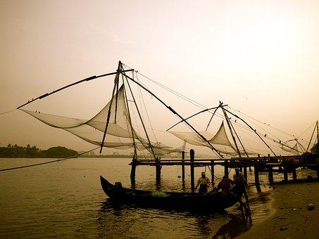 Fishing, Chinese, Fishing Nets, Tradition, Shore, Boats
