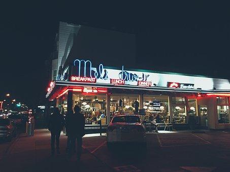Restaurant, Diner, Drive-in, Neon, Sign, Night, Dark