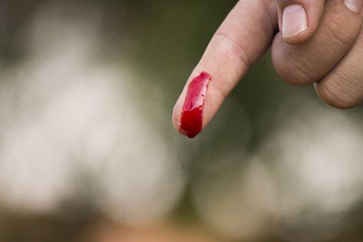 Finger, Blood, Wound, Drop