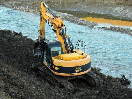 Excavator, River, Torrent, Machinery, Earthmoving