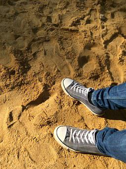 Shoes, Feet, Foot, Sand, Beach, Sneaker, Fabric Shoes