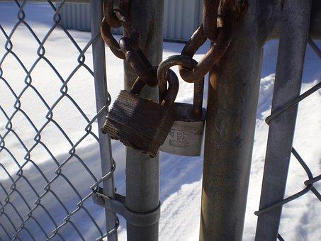 Padlock, Fence, Barred, Close, Lock, Security, Closed