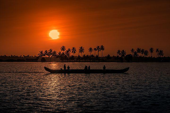Sunset, Kerala, Aleppay, Boat, Fisherman, Fishing