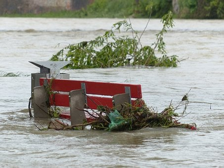 High Water, Park Bench, Flooded, Red, Natural Disaster