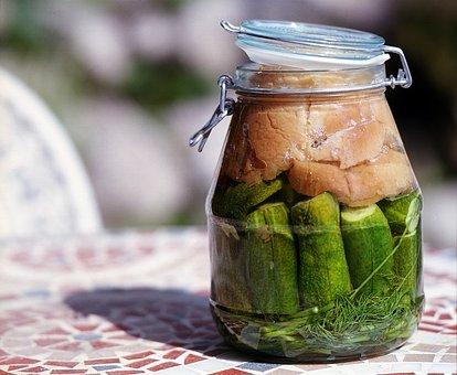 Fermented, Cucumber, Glass, Food, Fermentation
