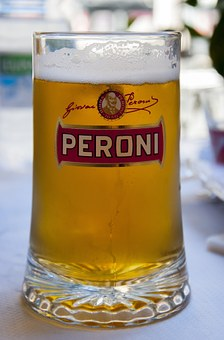 Beer, Peroni, Glass, Full, Foam, Coolness, Golden