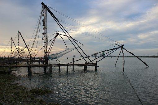 Kerala, Fishing, Fishnet, Evening, Cochin, Kochi, Sea