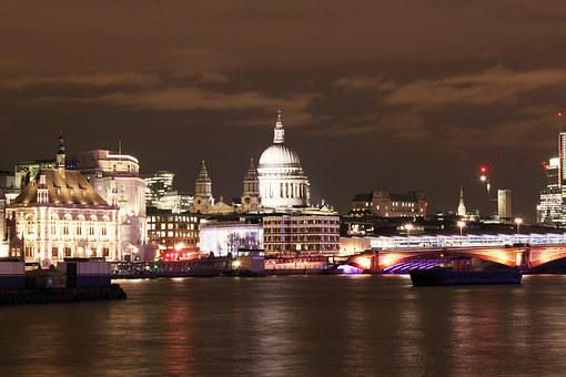 Millennium Bridge, London, Night, City, Thames, River