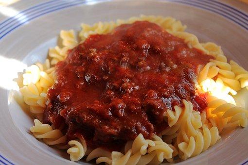 Meat Sauce, Noodles, Fusilli, Bolognese, Pasta, Sauce
