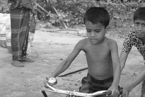 A Boy Try To Learn Cycle, On The Road