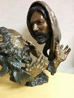 Statue, Face, Religious, Blind Man, Carving, Brass
