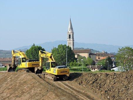 Excavator, Earthmoving, Revolving, Machinery, Levee