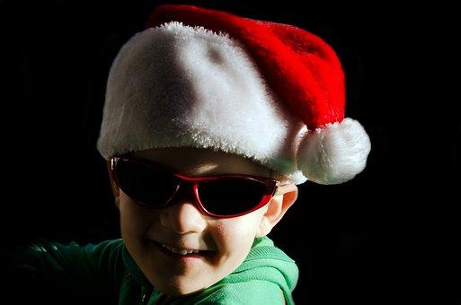Little, Santa, Hat, Red, Glasses, Child, People, Boy