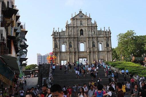 Macau, Ruins Of St Paul, Building, The Crowd