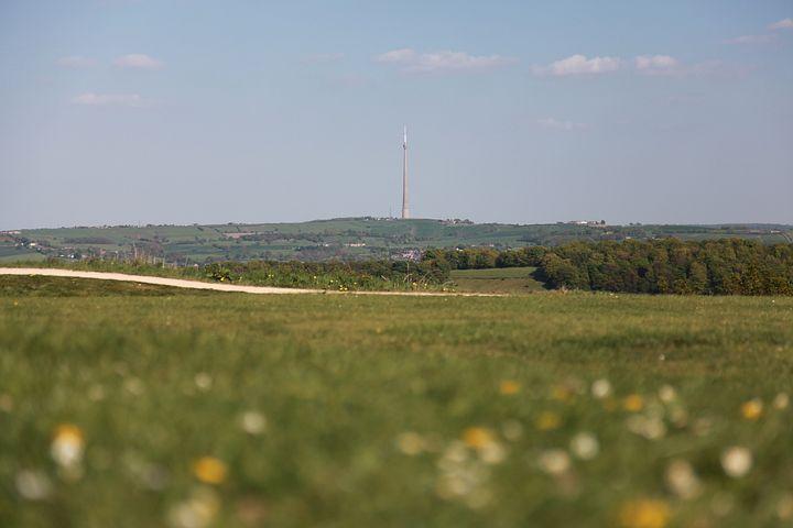 Emley, Moor, Mast, Transmitter, Grass, Cloud, Sky