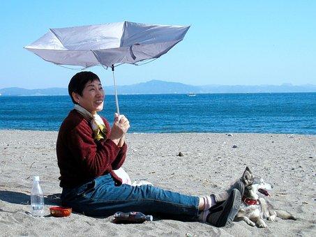 Nobi Beach, Umbrella, Wind, Sea, Sandy, Woman, Japanese