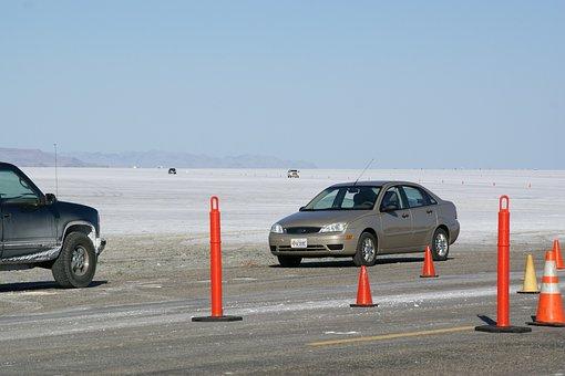 Salt Flats, Bonneville, Wendover, Utah, Usa, Cars