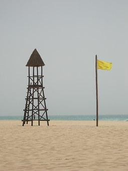 Yellow Flag, Warning, Sandy Beach, Wind, Windy