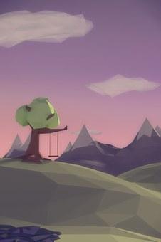 Rendering, 3d-rendering, Grafic, Tree, Mountain