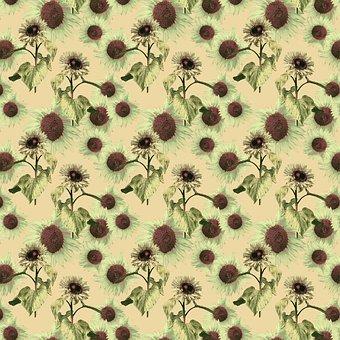 Sunflowers, Flowers, Pattern, Ornament, Orange, Green
