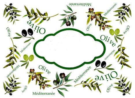 Label, Olive, Mediterranean, Olives