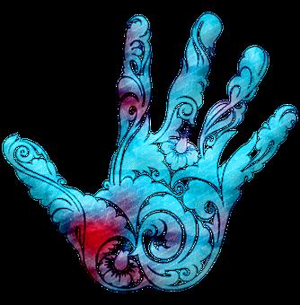 Watercolor, Hamsa, Hand Of Fatima, Colorful, Henna