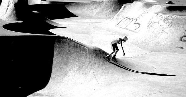 Inline, Skater, Skate Park, Boy, Shadow, Black, White