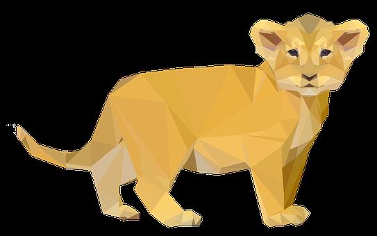 Lion, Small Lion, Cub, Geometric
