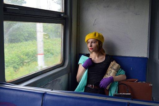 Train, Woman, Passenger, Retro, Vintage