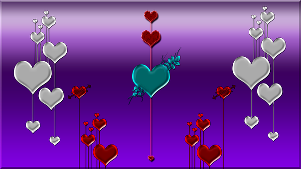 Purple, Background, Hearts, Silver, Red, Teal, Deco
