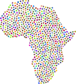 Africa, Hearts, Map, Continent, Love, Romance, Romantic