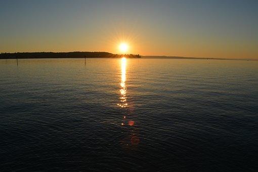 Lake Constance, Switzerland, Water, Sunrise, Wave, Mood