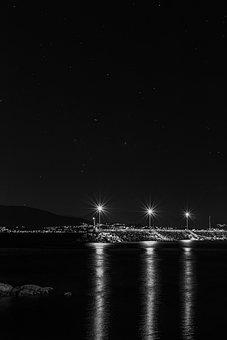 Night, Docks, Lighthouse, Dock, Pier