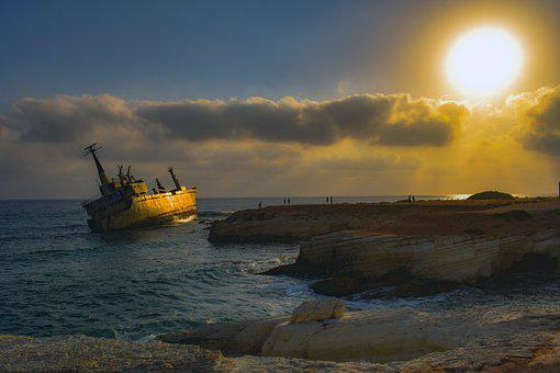 Shipwreck, Sea, Sky, Clouds, Sunset, Sun, Romantic
