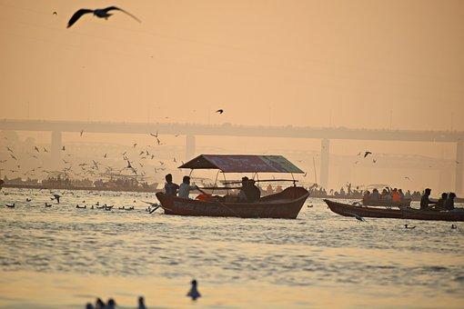 Boats, Evening, Sunset, Sea, Water, Sky, Travel, Ocean