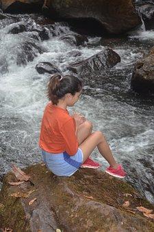 A Girl Near A Stream, Woman, Stream, Water, Waterfalls